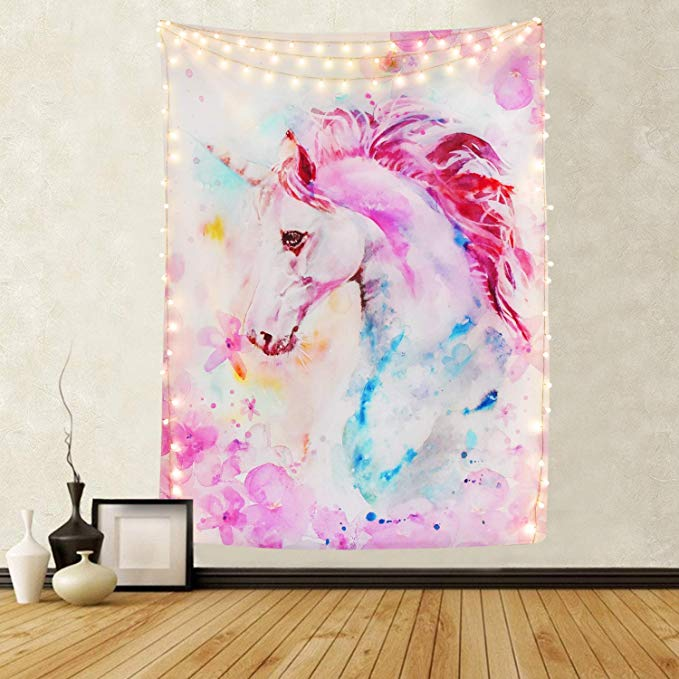Watercolor Hippie Girly Pink Unicorn Tapestry