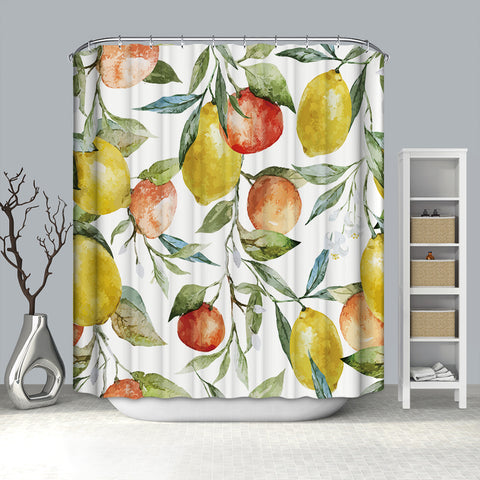 Watercolor Ink Art Seamless Orange Lemon Fruit Leaves Shower Curtain