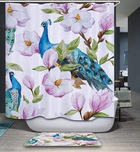 Watercolor Magnolia Flower Peacock Shower Curtain