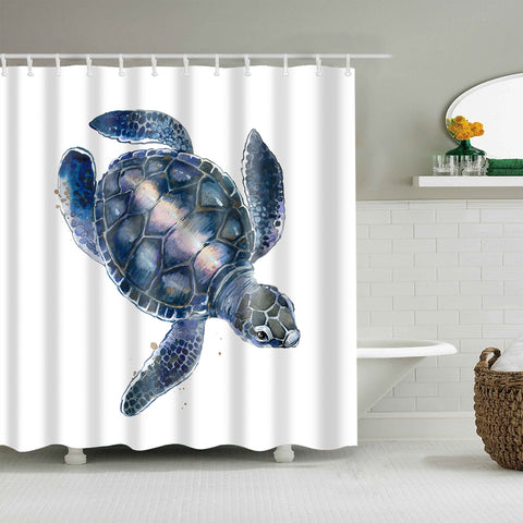 Wasserfarbe Midnight Blue Turtle Shell Sea Turtle Shower Curtain