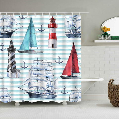 Watercolor Nautical Seascape Various Boats Anchor Lighthouse Shower Curtain