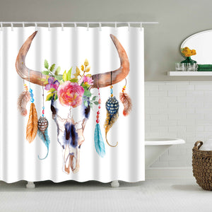 Watercolor Painting Colorful Buffalo Skull Shower Curtain