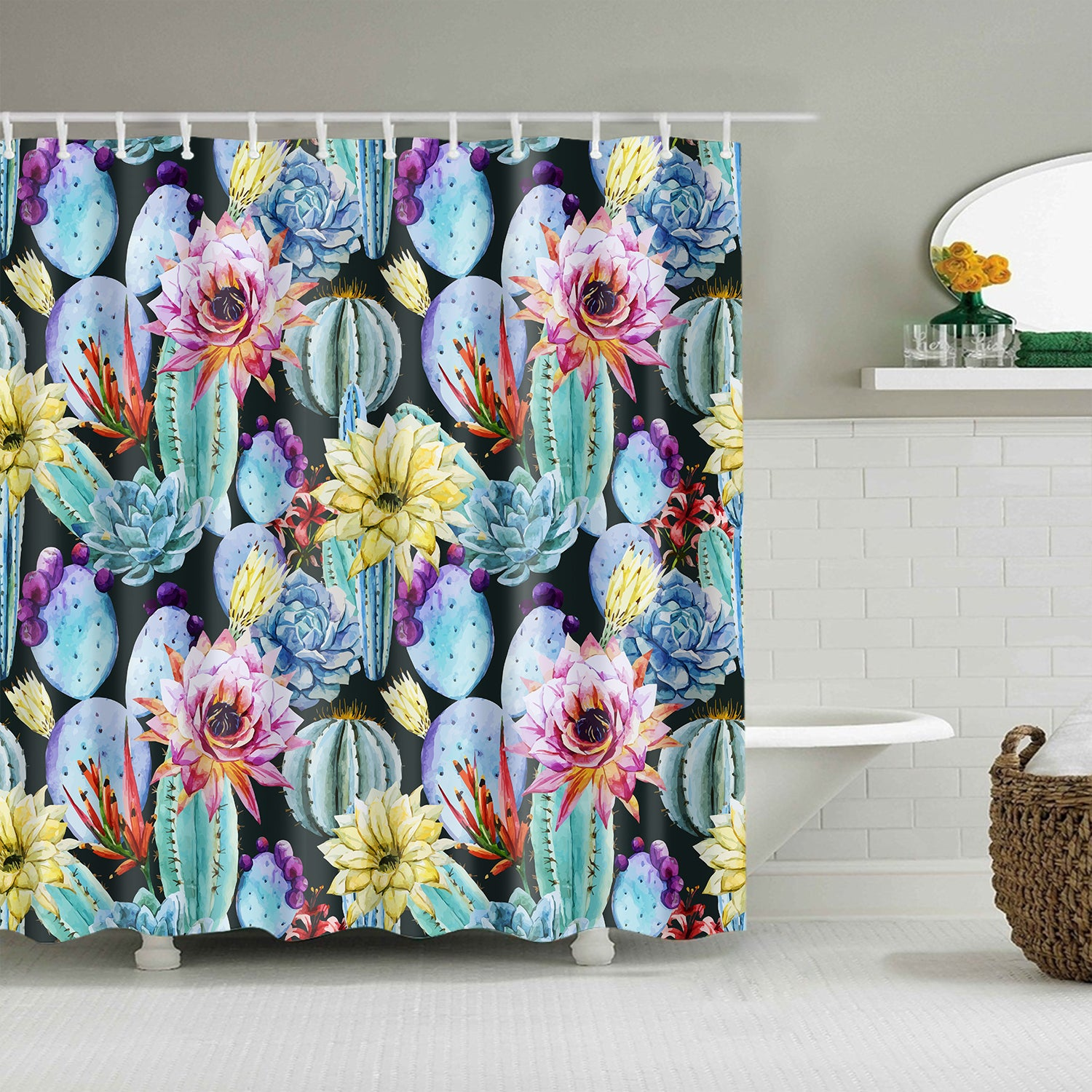 Watercolor Succulent Love Plant Rainbow Cacti Cactus Shower Curtain
