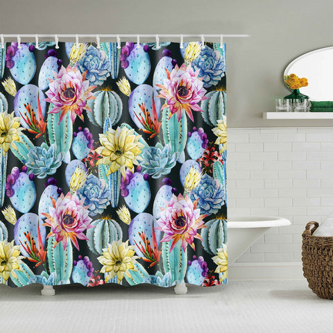 Watercolor Succulent Love Plant Rainbow Cactus Cactus Shower Curtain