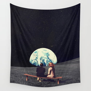 We Used to lived here Moon Surface Aesthetic Earth Tapestry