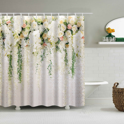 Wedding Decoration White Wisteria Romantic Floral Shower Curtain