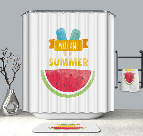 Welcome Summer Watermelon Shower Curtain