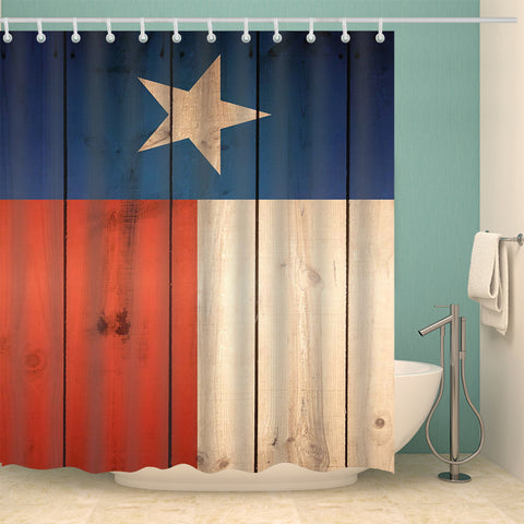 Western Grunge Plank Wood Print Texas Star Flag Shower Curtain