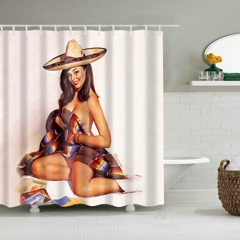 Western Retro Sexy Pinup Cowgirl Shower Curtain