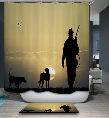Western Sunset Cowboy with Dogs Shower Curtain