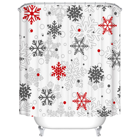 White Backdrop Seamless Christmas Red Grey Snowflake Shower Curtain
