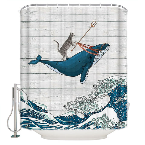 White Barn Door Backdrop Great Waves Funny Cat Riding Whale Shower Curtain