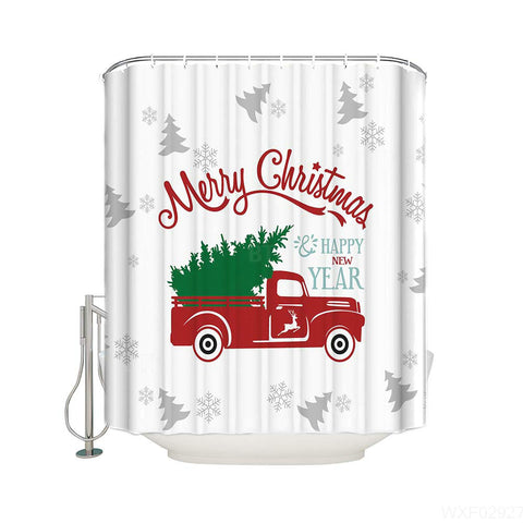 White Grey Tree Backdrop Red Truck Christmas Shower Curtain