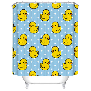 White Polka Dot Blue Backdrop Seamless Yellow Duck Shower Curtain