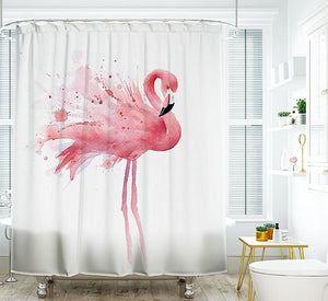 White Backdrop Ink Design Pink Flamingo Shower Curtain