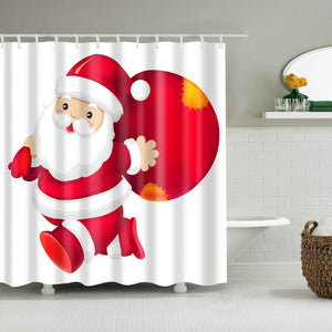 White Backdrop Santa Claus With Gift Bag Shower Curtain