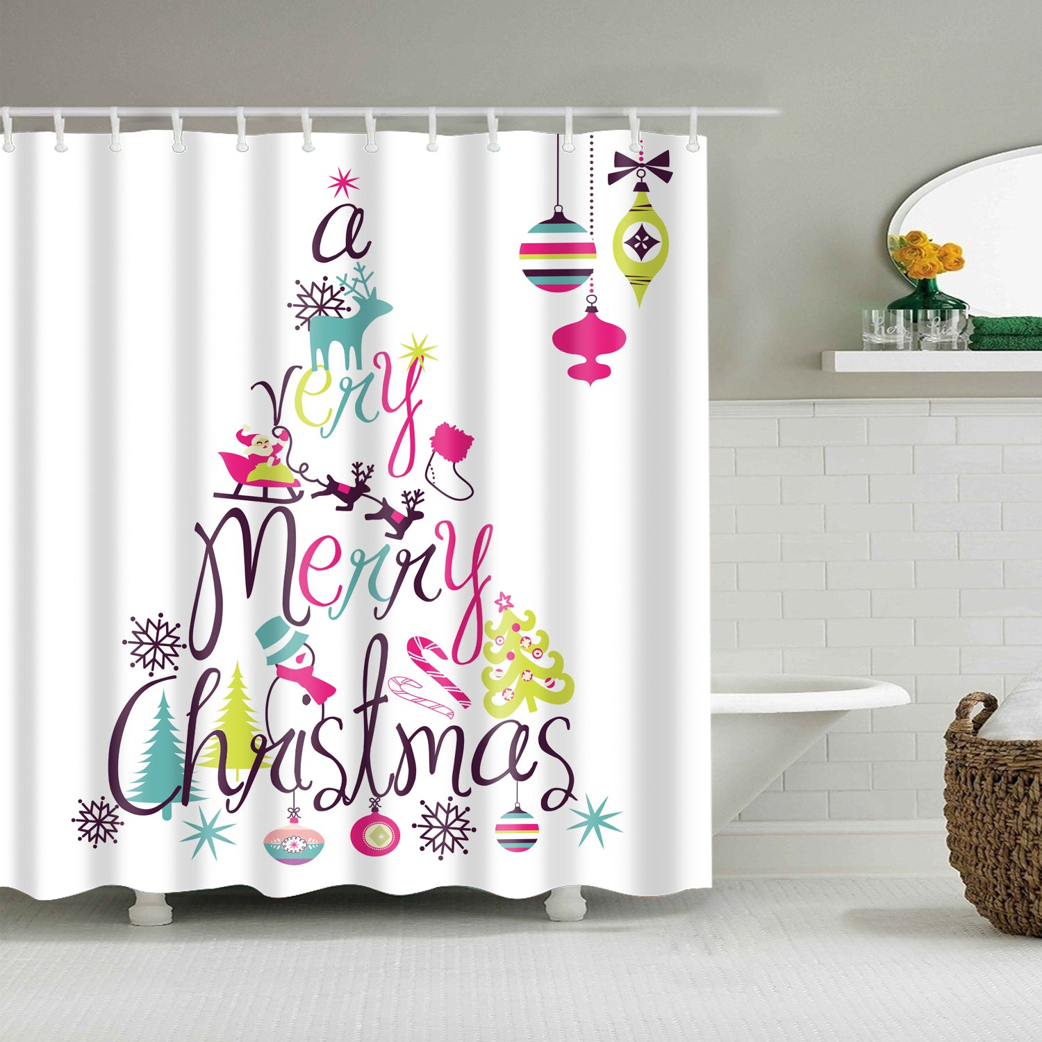 White Backdrop Unique Christmas Design Shower Curtain