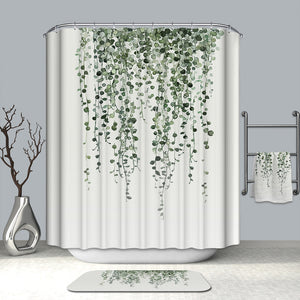 White Green Vine Fern Plant Shower Curtain