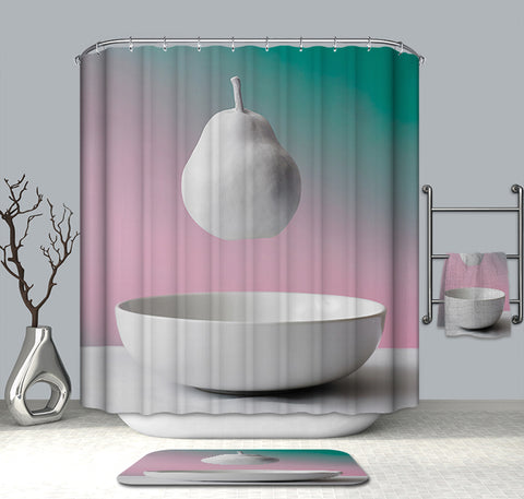 White Hanging Pear Fruit Shower Curtain