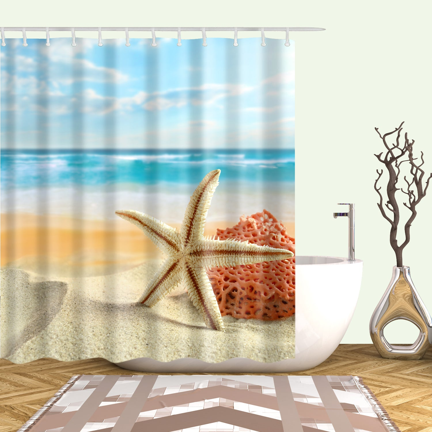 White Starfish Shower Curtain Orange Coral Seashell Beach Bathroom Curtains
