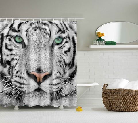 White Tiger Face Shower Curtain | GoJeek