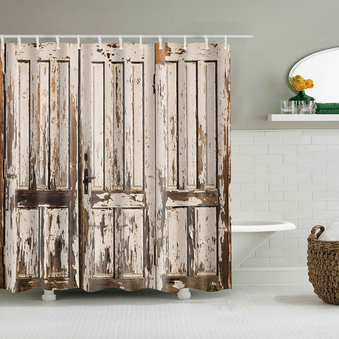 White Wooden Plank Rustic Barn Door Shower Curtain