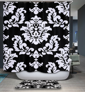 White and Black Floral Damask Shower Curtain