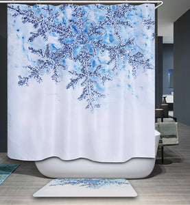 White and Blue Huge Snowflake Shower Curtain