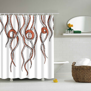 White and Orange Octopus Tentacles Shower Curtain