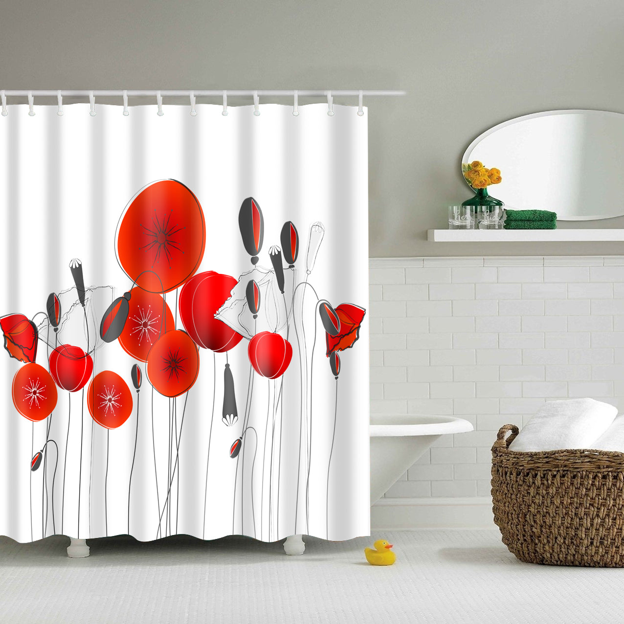 White and Red Poppy Field Shower Curtain