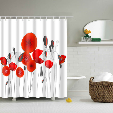 Bianco e Red Poppy Field Shower