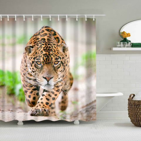 Wild Cat Animal Muscular Jaguar Leopard Shower Curtain