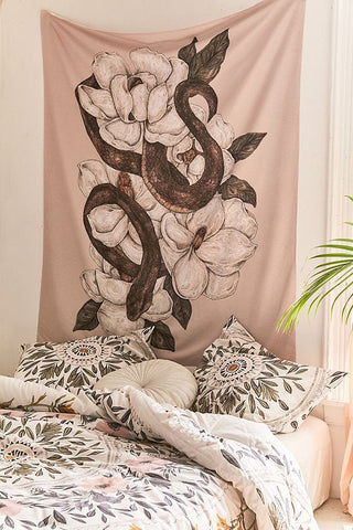 Wildlife Magnolia Flower Snake Tapestry