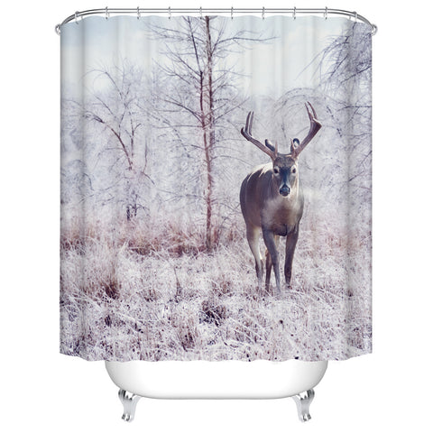 Wildlife Winter Forest Rustic Deer Shower Curtain