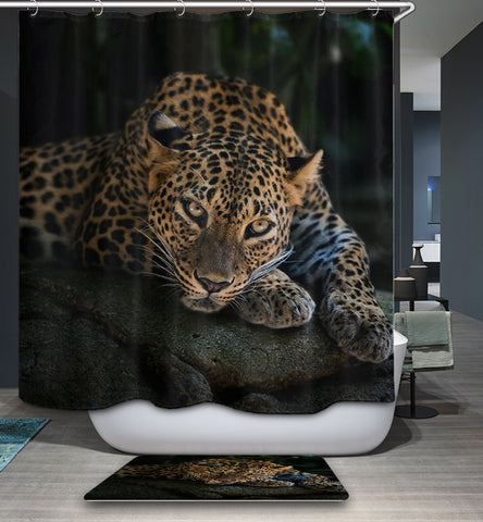 Wildlife Animal Real Snow Leopard Staring Shower Curtain
