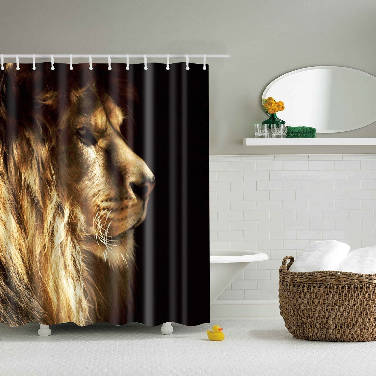 Wildlife Lion Side Face Shower Curtain Black Bath Decor | GoJeek