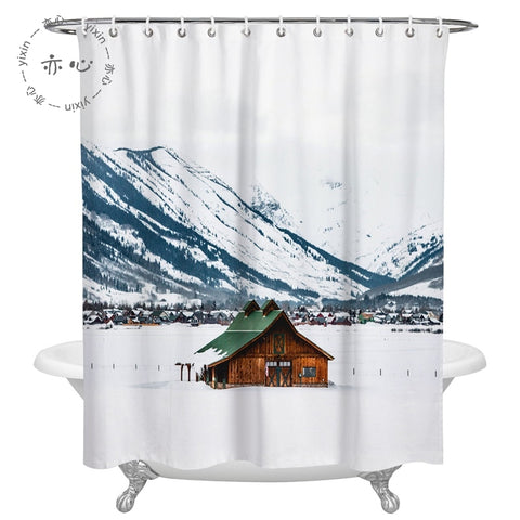 Winter Blue White Snow Mountain with Lodge Shower Curtain