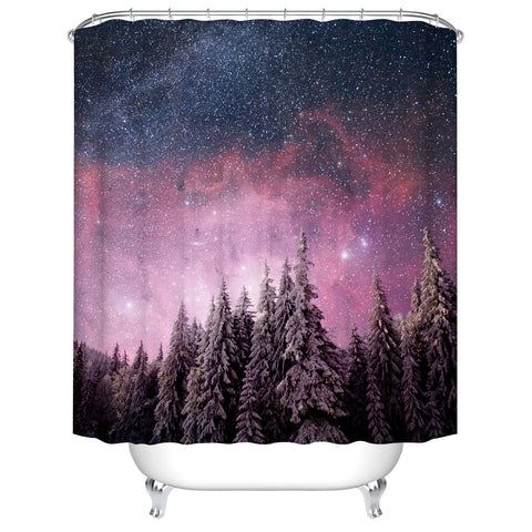 Winter Forest Snowy Trees with Pink Night Sky Starry Galaxy Shower Curtain