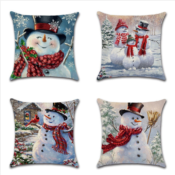 Winter Smiling Snowman Christmas Holiday Decor Throw Pillow Cover