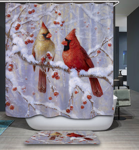 Winter Cardinal Birds Shower Curtain