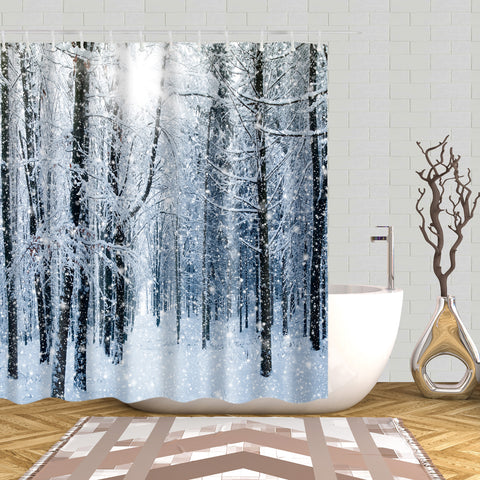 Winter Christmas Snow Forest Shower Curtain