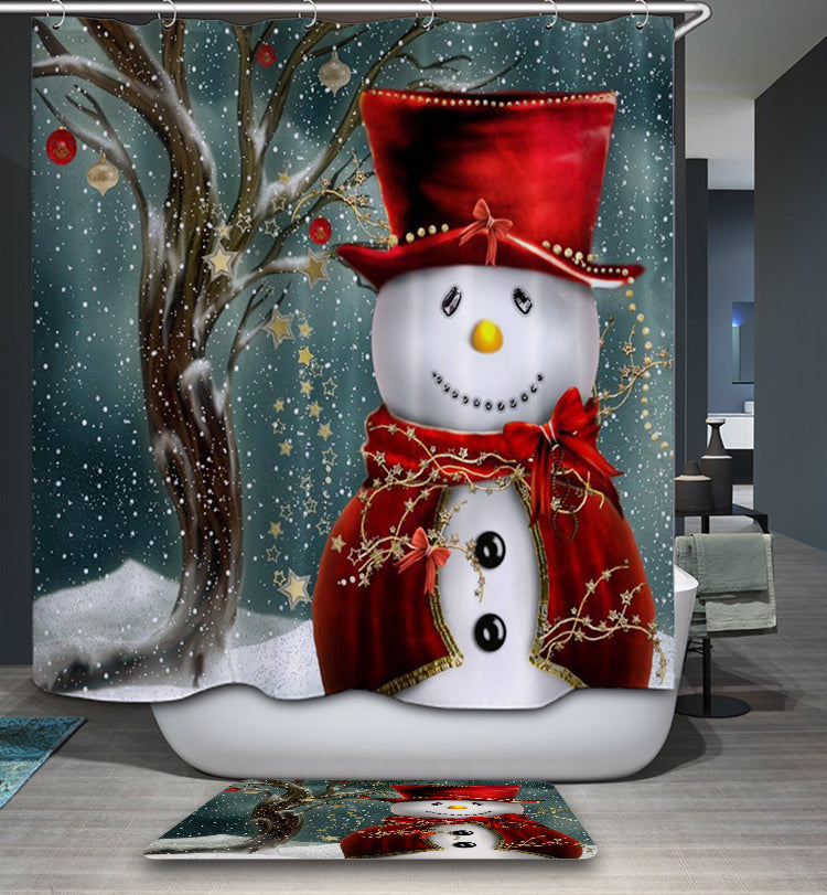 Winter Magician Dressing Snowman Shower Curtain