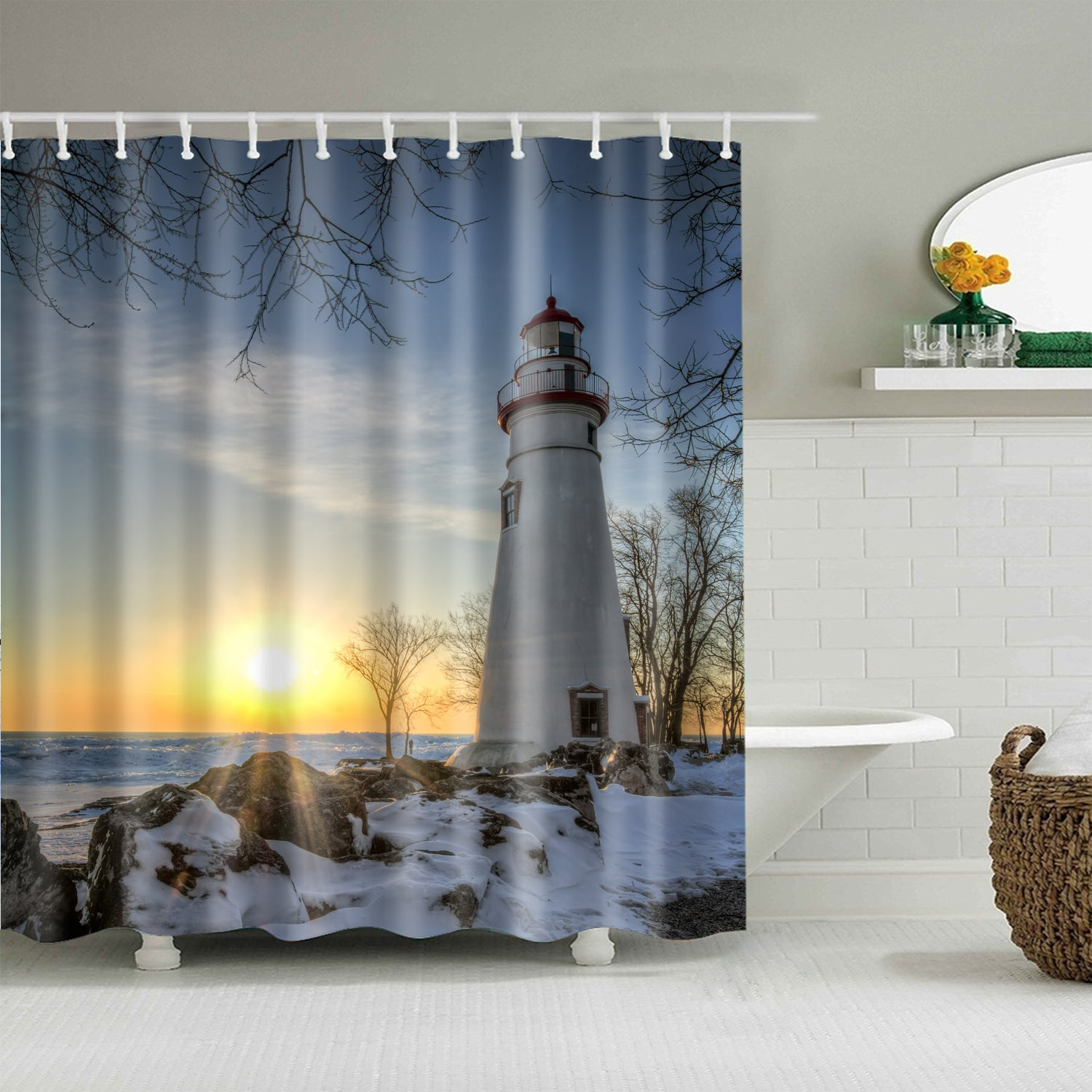 Winter Morning Sun Coast Lighthouse Shower Curtain Bathroom Decor