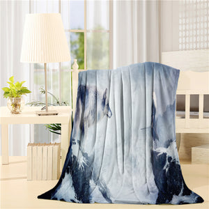 Winter Mountain Sword Man With Wolf Throw Blankets