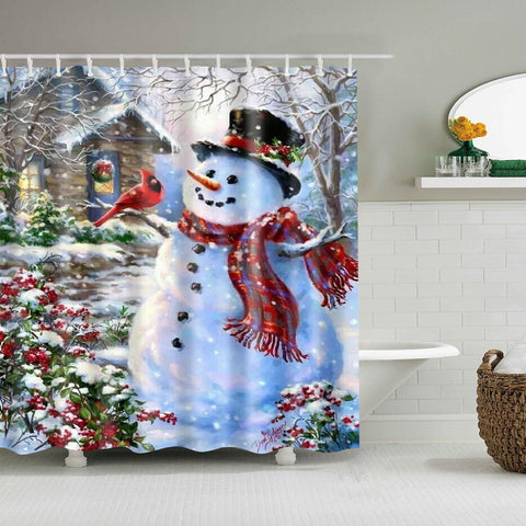 Cortina de ducha de invierno Outhouse Bird Christmas Snowman