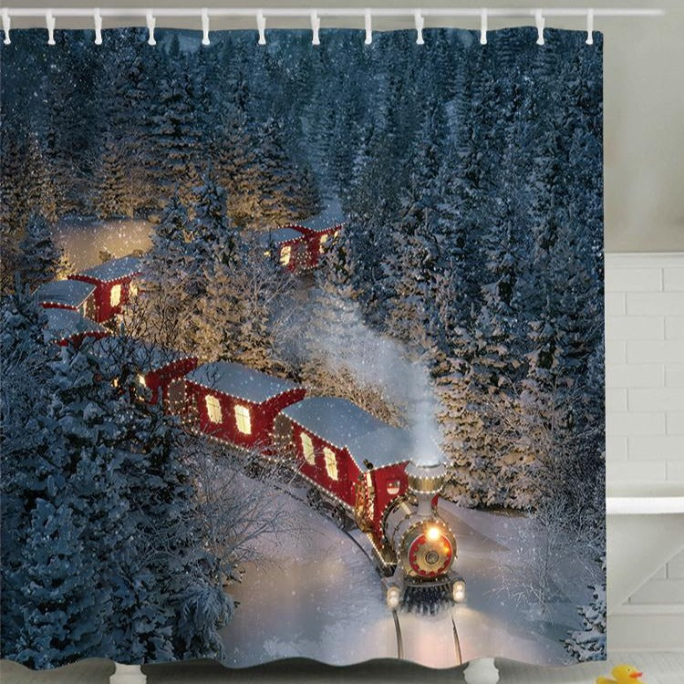Winter Snow Red Train Shower Curtain