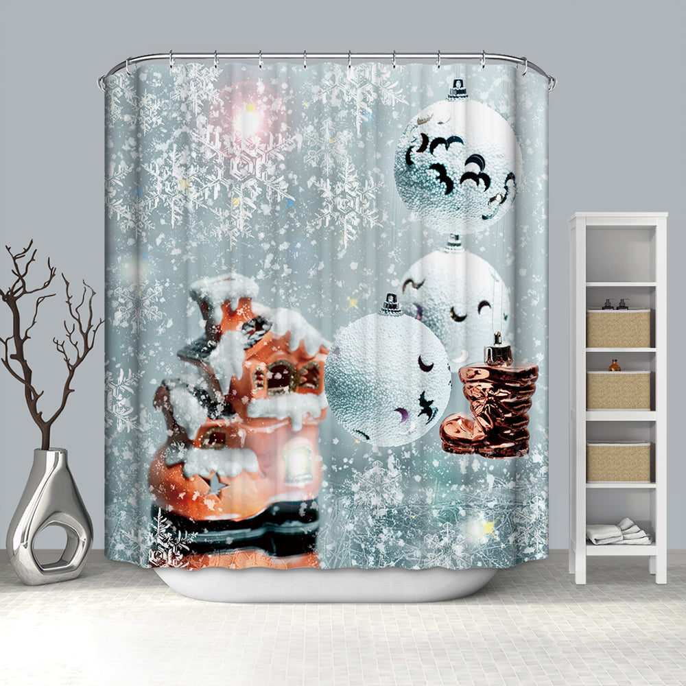 Winter Snow White Christmas Bubbles Shower Curtain