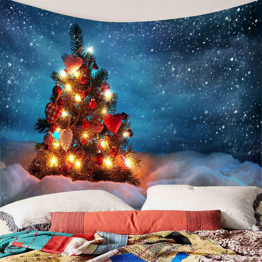 Winter Snowy Day Decorate Christmas Tree Tapestry