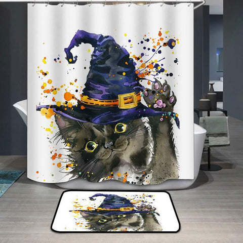 Wizard Hat Witch Coplay Cat Halloween Shower Curtain