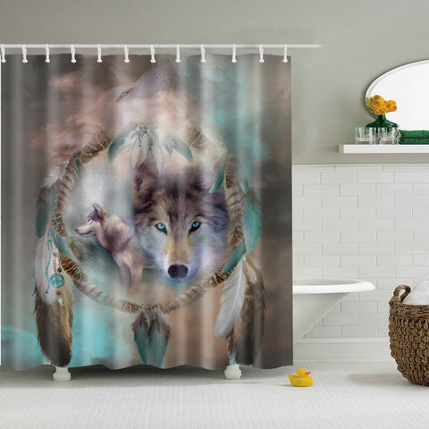 Wolf Dream Catcher Shower Curtain